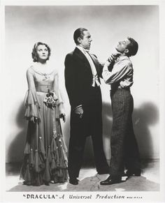 "Helen Chandler (Mina), Bela Lugosi (Count Dracula), and Dwight Frye (Renfield) in a publicity still from ""Dracula"" (1931)"