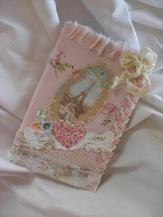 Marie Antoinette Altered Art Mini Journal with Ribbons and Roses      From ShatteredPrincess