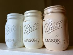 SALE Painted distressed mason jars ombre white ivory shabby chic vase vintage centerpiece wedding decor ball kerr or rustic wedding neutral