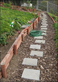 Simple walkway across sloping yard.
