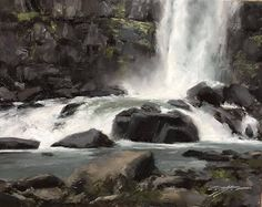 Matthew J Cutter - Thingvellir Waterfall- Oil