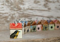 """Funky Little Bird Houses"""" with roofs made with folded vintage postage stamps. You know I can't say no to bird houses. Paper Art, Paper Crafts, Postage Stamp Art, Idee Diy, Game Pieces, Little Birds, Mail Art, Bird Art, Graphic"""