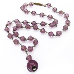 Vintage Art Deco Czech Amethyst Foil Glass Bead Necklace | Clarice Jewellery | Vintage Costume Jewellery