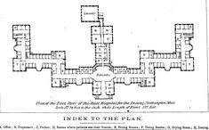Plan of the first story of the State Hospital for the Insane, Northampton, Mass. Kirkbride design.