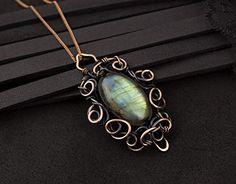 Oval gemstone blue green labradorite pendant wire wrapped necklace Handmade copper jewelry Statement boho Rustic Eleg...