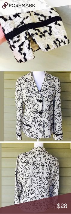 Chicos Embroider Linen Blazer  Black and Ivory Chicos Embroider Linen Blazer Jacket Black White and cream Career Spring Sz1 (M).  In excellent condition. Chico's Jackets & Coats Blazers