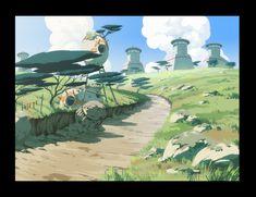 landscape oban star racers scenic h Landscape Concept, Fantasy Landscape, Landscape Art, Cartoon Background, Animation Background, Fantasy Background, Game Background, Environment Concept Art, Environment Design