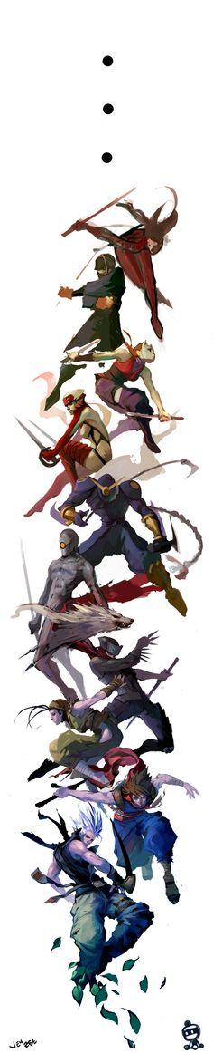 Ninja Medley Fail by JenZee on deviantART: Character Poses, Character Concept, Character Art, Concept Art, Illustrations, Illustration Sketches, Character Illustration, Art Anime, Manga Anime