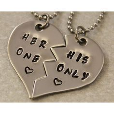 Her One His Only Necklaces - Couples Jewelry - Girlfriend Boyfriend... (1,675 INR) ❤ liked on Polyvore featuring jewelry, necklaces, accessories, couples, random, charm necklaces, stainless steel heart necklace, heart necklace, letter necklaces and initial pendant necklaces
