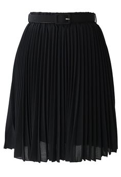 Black Pleated Chiffon Midi Skirt with Belt - Bottoms - Retro, Indie and Unique Fashion