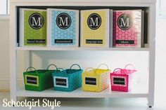 Creative Storage Solutions for Homeschool. I think homeschooling storage epitomizes the meaning of creative storage solutions. Classroom Environment, Classroom Setup, Classroom Design, Polka Dot Party, Polka Dots, Polka Dot Classroom, Schoolgirl Style, Creative Storage, Binder Covers