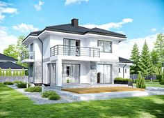 APS 266 + storey house design, area with a spacious garage, with a roof . Bungalow House Design, Modern House Design, Modern Architecture House, Architecture Design, House Plans Mansion, House Construction Plan, Dream House Exterior, Home Design Plans, New Homes