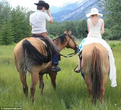 Wedding on horseback! The couple married in Banff, Alberta, Canada at  Warner's stables. It was Lisa's first ever time on a horse and Alex wore a cowboy outfit on their big day