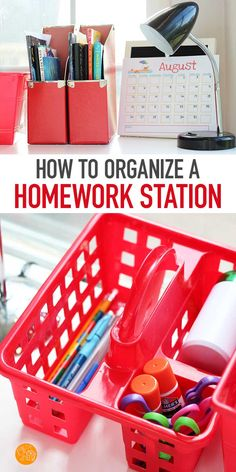 Make a DIY Homework Station with these tips and inspiration! Find ideas for a tabletop homework station, portable homework stations, homework caddies and more. Organize your school supplies and craft supplies with this adorable set up. Perfect for back to Homework Caddy, Homework Station Diy, Homework Organization, Back To School Organization, Organization Station, Organization Hacks, Craft Station, Kids Homework, Organization Ideas
