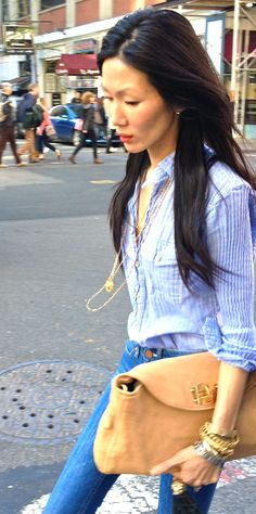 """my favorite rag & bone button front shirt and old acne jeans, casual friday"" marissa webb"