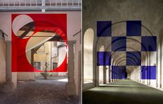 These images are not digitally enhanced. Honestly. The man behind these mind boggling art installations is Felice Varini, a Swiss artist who is known for his masterful geometric anamorphic illusions.