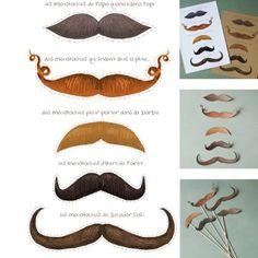 Imprimible con diferentes bigotes para recortar, pegar en un palito >> Moustaches free printable #Movember