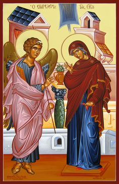 The Annunciation Mother Of Christ, Church Icon, Holy Mary, Religious Icons, I Icon, Orthodox Icons, Virgin Mary, Madonna, Christianity