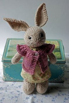 Knitted Bunny Rabbit Toy in Summer Dress with Cardigan