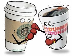 This is funny to me on so many levels!  My husband recently made a career change and joined a franchise team for Dunkin Donuts.  I LOVE Starbucks (actually I like Dunkin coffee better but I love Starbucks fancy coffee drinks and their Very Berry Hibiscus Refresher) - so the graphic of Dunkin and Starbucks duking it out just tickled me.  ~Michele   www.redfeathernetworking.com