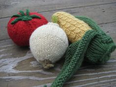 Mexican set of fruit and vegetable knitting pattern by eggandtartan