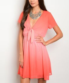 Look what I found on #zulily! Coral Ombré Tie-Front Plunge Dress #zulilyfinds