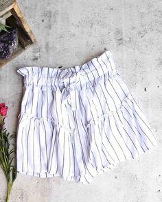 67f1d2c830 Cotton candy la - martine stripe shorts with ruffle hem - white