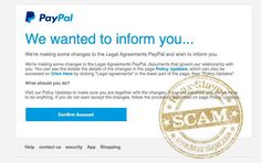 Phishing scam - Paypal changes to legal agreements