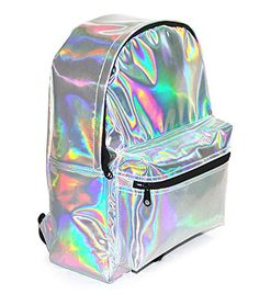 Zicac Girl's Sliver Holographic Laser Leather Backpack Tr...