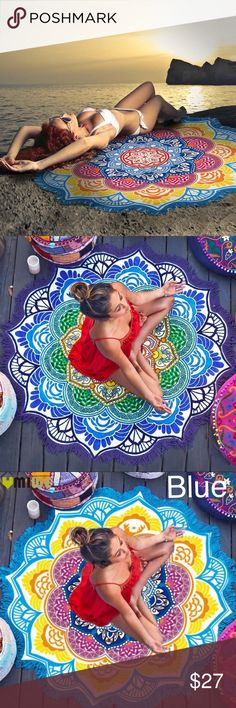 """Round Circle Mandala Beach Yoga Fringe Blanket NWT Stunning disc for laying out at the beach, yoga, or for use as a bikini swim coverup!  This is not a towel, but rather a 56"""" plus fringe diameter polyester-blend disc of vivid color and eccentric Boho sty"""