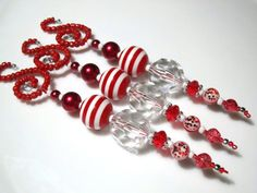 These deluxe beaded Icicle Christmas Ornaments really make a statement. Lovely large and sparkly beads dangle elegantly below whimsical spiral