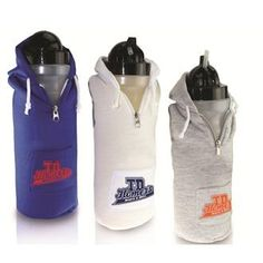 This cool collegiate looking Bio-DPS biodegradable clear 24 oz. water bottle is covered with a hooded sweatshirt. This soft cotton material is fun to hold and has a front pocket to keep your stuff.  $5.58