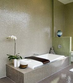 20 Cool Green Bathroom Design Ideas : Simple Bathroom With Relax Atmosphere White Tub And Small Tiles Wall
