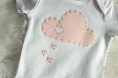 This listing is for  X1 hand appliqued love heart drop rain cloud onsie, X1 cloud pillow with super soft white minky backing And one matching top