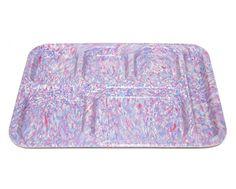 Vintage Speckled Lavender Melamine Cafeteria Trays