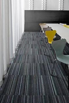 Straight Edge™ patterned carpet tile by Interface. See more on productFIND.