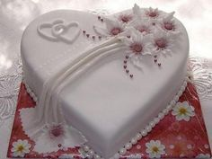 Small Heart Wedding Cake -Could also be top of multi layer cake (Small Wedding Cake) I like the top design. Omit fondant drape, and put hope on small cake, faith on medium cake and love on large cake with another set of hearts under each word, like in the Heart Shaped Wedding Cakes, Heart Shaped Cakes, Small Wedding Cakes, Heart Cakes, Beautiful Wedding Cakes, Wedding Cake Designs, Rodjendanske Torte, Valentine Cake, Valentines