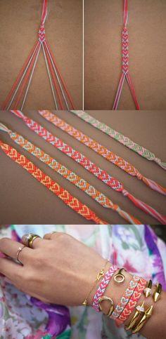 A list of DIYs on how to make friendship bracelets cool again. Learn how to make DIY bracelets from an easy-to-make heart bracelet to DIY…(How To Make Bracelets)