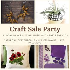 Come see us at this amazing craft sale on Saturday 11am-3pm at 619 Maybell ave, Palo Alto. Thank you @wishesandwows for decorating the yard! There will be some wine,music and cheese! Also shop from your favorite local artists!  @mycreationsbox Thanks a lot  for putting this together! Fun Crafts, Crafts For Kids, Quilling Earrings, Craft Sale, Local Artists, Yard, Cheese, Wine, Decorating