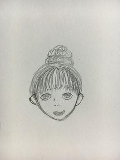 3단 똥머리의 귀여운 여자아이 일러스트