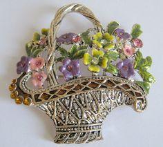 Vintage Flower Basket Pin Brooch by SideEffectsNY on Etsy