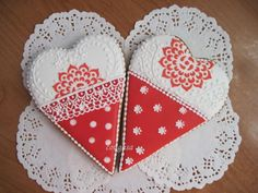 Two hearts, red, white, & lacy by Lana Lana