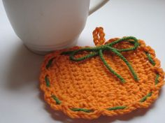 Crochet Pumpkin Coasters for the reception/also best wedding favor ever. Stacy gave coasters. You can too.
