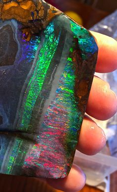 Now THAT'S Boulder Opal!!  Part of a rough parcel I just bought!  Bill Kasso