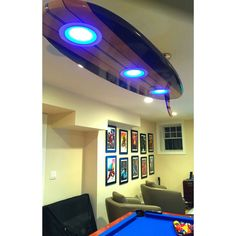 Pool table with led lights in the pockets wonderful world of surfboard pool table billiard game room bar ceiling light greentooth Choice Image