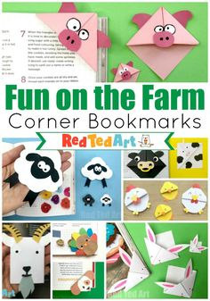 Red Ted Art& Farm Animal Corner Bookmarks & see our collection of farmyard bookmarks! We love making Origami Bookmark Corners, & Origami Bookmark Corner, Corner Bookmarks, How To Make Bookmarks, Paper Crafts For Kids, Easy Crafts For Kids, Easter Crafts, Art For Kids, Farm Animal Crafts, Animal Crafts For Kids