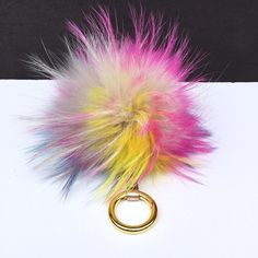 NEW Dimensional Swirl (piece no.83) Raccoon Fur Pom Pom luxury bag charm with real leather rusty signature strap and gold buckle #furbagchains #Furbagcharm #furkeychain #furpom #furkey #furball #furpompom #pomomkeychain #pompom #pompon #bagporn #bagcharm
