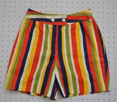 Incredible Retro 1960s Striped High Waisted Shorts -- Rainbow High Waisted Short Shorts -- College Town of Boston by HandsomePeteShop on Etsy