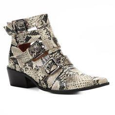 ae53be64f Bota Cano Curto Shoestock Snake Fivelas Feminina - Cinza e Preto - Compre  Agora