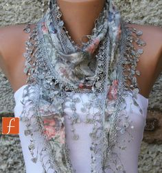 LOVE!!!! Multicolor Shawl  - Cotton  Scarf -  Cowl with Lace Edge Gray - fatwoman - Bridesmaids Gifts. $15.00, via Etsy.